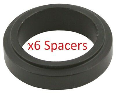 6 Black 25mm x 10mm Alloy Wheel Spacers Prokart Cadet UK KART STORE