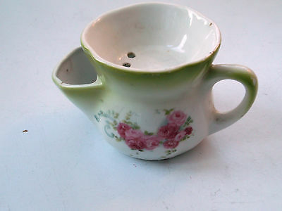 ? Vintage  Small Shaving Mug  With A Pink Rose  Pattern And Green Trim