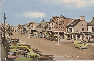 Colour tinted real photo postcard of 'High Street, Redcar
