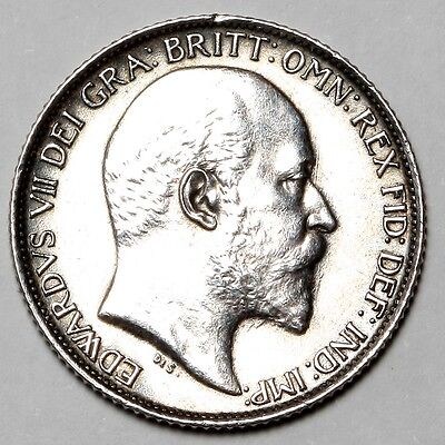 1905 King Edward Vii Great Britain Silver Sixpence Six Pence 6D Coin