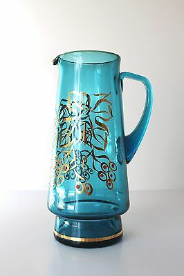 VINTAGE RETRO 1960's BOHEMIA AQUA BLUE GLASS DRINKS WATER JUICE JUG