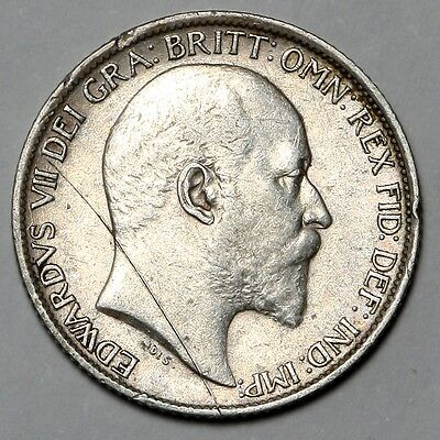 1906 King Edward Vii Great Britain Silver Sixpence Six Pence 6D Coin