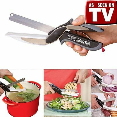 New Clever Cutter 2-in-1 Knife & Cutting Board Scissors As Seen On TV Kitchen vv