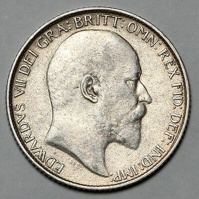1907 King Edward Vii Great Britain Silver Sixpence Six Pence 6D Coin