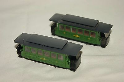 009 HOe Narrow Gauge GOOD/ USED 2x Liestal Waldenburg Tram Coach Green Liliput