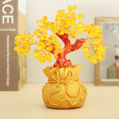 Feng Shui Wealth Lucky Citrine Crystal Gem Money Coins Tree in Money Bag Decor