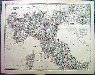 1873 Old Original Antique Map Of Northern & Central Italy & Corsica