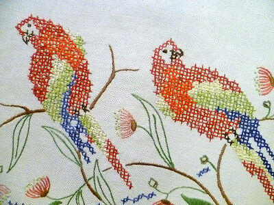 """Australian Rosella's & Red Gum Blossom~Vintage Hand Embroidered Tablecloth 38""""Sq"""