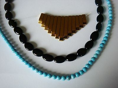 Gold Haematite necklace bars. Agate blue Rounds & black ovals . 3 strand bundle
