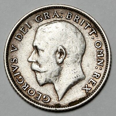 1914 King George V Great Britain Silver Sixpence Six Pence 6D Coin