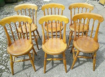 Set of 6 Six Victorian Edwardian Beech and Elm Chairs Great Condition