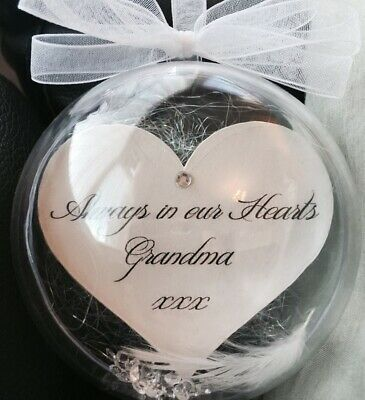 Personalised Remembrance Memory Bauble Feather & Heart Christmas Any Name