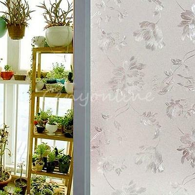 60x100cm Flower Frosted Glass Window Sticker Film Privacy Static Cover Adhesive