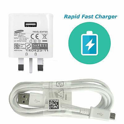 UK Wall Charger Adaptive Fast Charger + Cable for Samsung S7 Galaxy S7 Edge