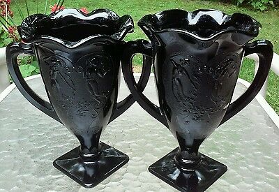 2 Excellent LE Smith Black Glass Nymph Dancing Girls Loving Cup Vases w Handle