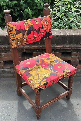 Unusual Antique Oak Church Chair / Occasional Side Chair For Restoration