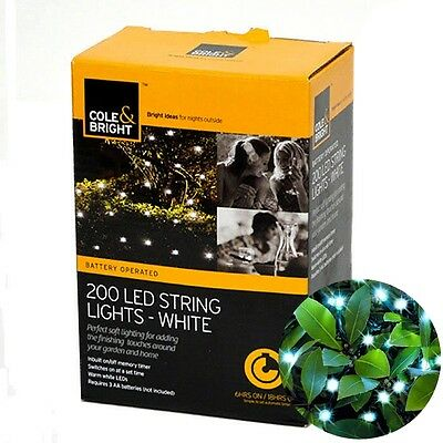 Brand New Cole And Bright 200 Static Battery Operated LED String Lights White