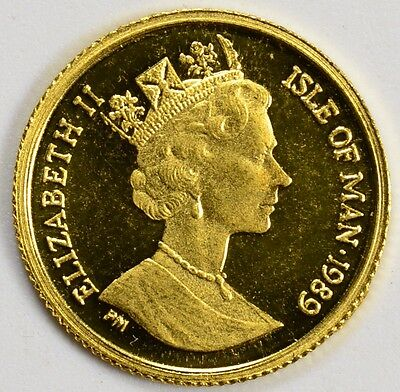 1989 Isle of Man 1/25 oz Gold Cat Crown NO RESERVE AUCTION