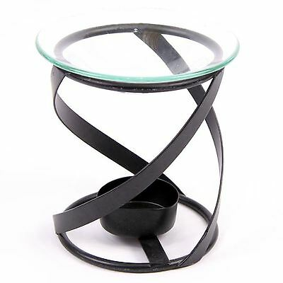Black Metal Spiral Oil Burner Thick 12cm High Aromatherapy Wax Melt Burner