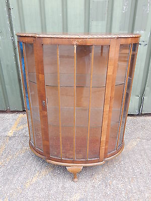 Vintage 1950's walnut bow front china display cabinet with glazed door & shelves