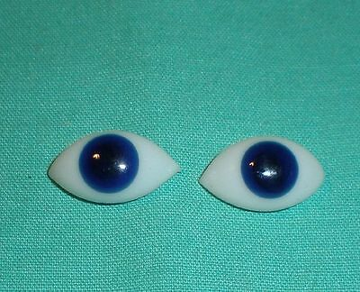 """pair of old glass eyes blue lens shape 0.68"""" x 0.4"""""""