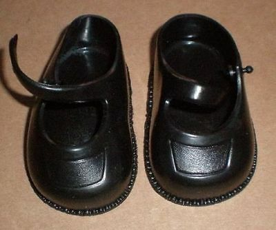 """pair of doll shoes, black/plastic/ 45/ 2  2/3"""""""