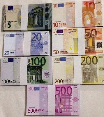 Lot Of 70 Pcs Mix Euro Banknote Bills Training Invalid For Collectible Money