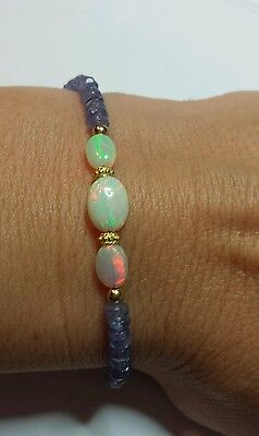 Ethiopian fire opal 6mm oval nuggets and 7cts Tanzanite gold 14k bracelet