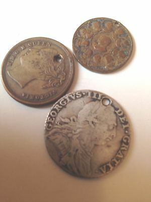 Collection Of 3 Coins With Hole( 1 X G3Rd Silver Shilling )