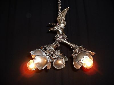 Vintage French spread winged eagle chandelier with copper leave bobeches 3 arms