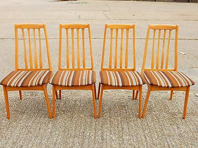 Set of 4x vintage mid century beech dining room chairs with retro striped fabric