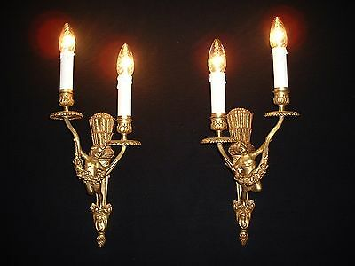 Vintage French bronze cherub Statue Empire style sconces Wall lamps