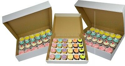 10 x Heavy Duty White Corrugated Cupcake Box For 24 Cupcakes With 6m Divider
