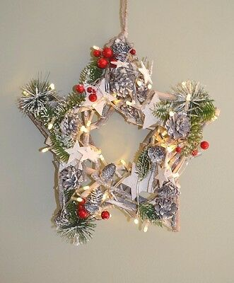 Christmas Star LED Twig Wreath with Berries & Fir 33 cm