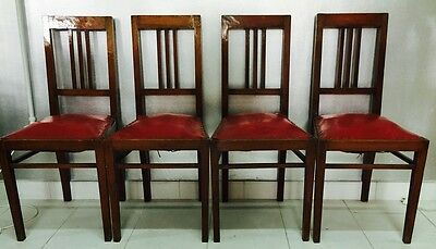 CHAIR chairs wooden chair red leather vintage 40 YEARS VINTAGE solid modernism