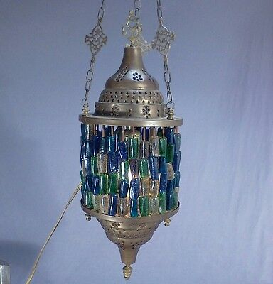 Antique Moroccan Pierced Brass Hanging Lamp Glass Beads Electric Pendant