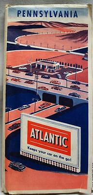 Atlantic Refining Service Station Pennsylvania Highway Road Map 1955 Vintage