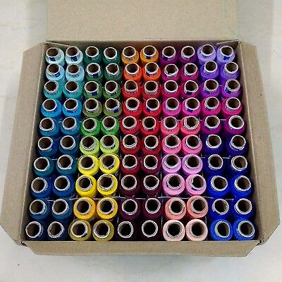 SET LOT of Assorted 100 Tubes Spools Polyester 2 ply Sewing Machine Thread Yarn