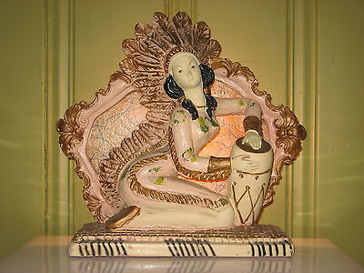 Vintage Retro  Native Indian Pin-Up Playing Percussion Chalkware Tv Lamp