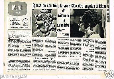 Coupure de Presse Clipping 1973 (2 pages) Cleopatre Liz taylor