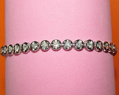 BEAUTIFUL  SECONDHAND 18ct YELLOW GOLD 2.70ct DIAMOND TENNIS BRACELET 19.5 cm