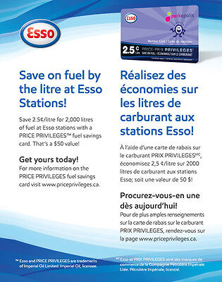 ESSO Price Privileges Fuel Savings Card - $50 (save 2.5 cents on 2000 L)