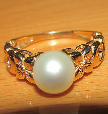 STUNNING SECONDHAND 14ct YELLOW GOLD PEARL SOLITAIRE RING SIZE S