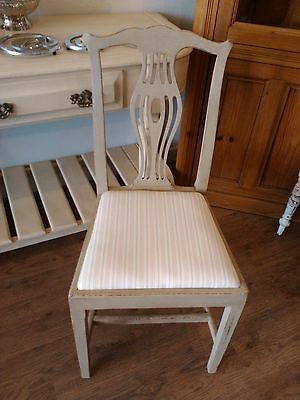 shabby chic painted vintage Harlequin dining chair repainted & cushion recovered