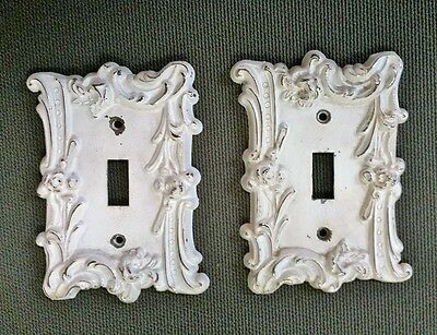 (Pair) Vintage M.C.C.O. Ornate Metal SingleToggle Switch Wall Plates