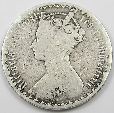 QUEEN VICTORIA SILVER GOTHIC FLORIN/ TWO SHILLINGS dated mdccclxxii - 1872