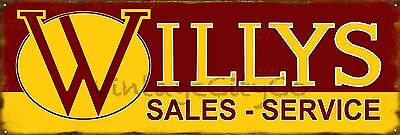 """Antique Style """" Willys Sales and Service """" Advertising Metal Sign - Rusted"""