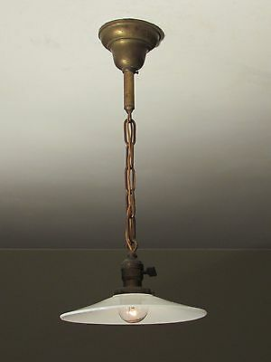 MATCHING PAIR! of Antique Pendant Light Fixtures with Flat Opal Shades c. 1910 • CAD $571.61
