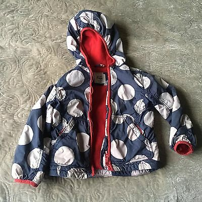 MINI BODEN Girls Blue Spotted Red Fleece Lined Warm Winter Thick Coat 3-4years