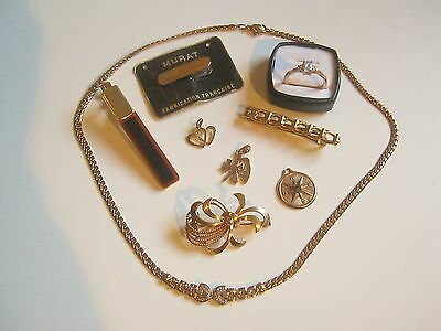 lot bijoux ancien & + récent Plaqué Or bague broche TBE/Gold plated lot jewelrys